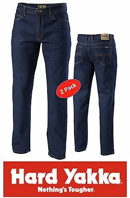 Pack Of 2 Pairs Hard Yakka Foundations Stretch Denim Mens Work Jeans Y44610