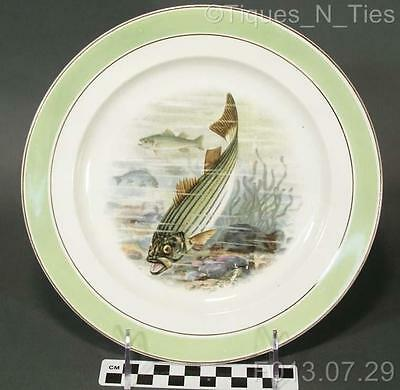 Antique Buffalo Pottery China Game Fish Plate R.K. Beck Artist Signed (193) (FF)