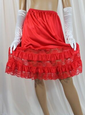 "Vintage ""union Made"" Red Rose Inserted Lace Hem Silky Nylon Half Slip Large"