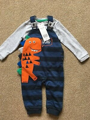 6-9 Months Boys Navy Dungaree Trouser Top Clothing Dinosaur outfit