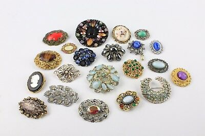 Collection of Statement Czech Theme Mixed Stone Set / Enamel COSTUME BROOCHES