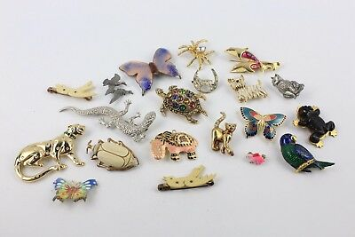 Collection of Animals Bugs Theme Mixed Stone Set / Enamel COSTUME BROOCHES