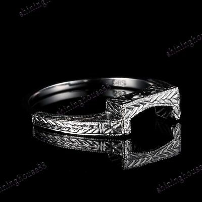 Solid 10K White Gold Engagement Wedding Delicated Engraving Ring Band 6.5#