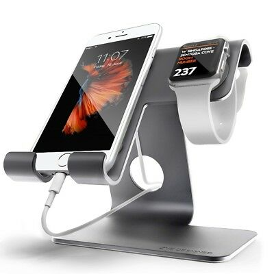 Apple Watch Stand iWatch iPhone Aluminum Charging Dock Cradle Holder Space Grey