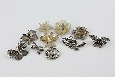 Collection of 10 x Vintage STERLING SILVER Filigree Brooches inc. Butterfly 72g