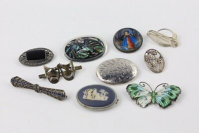 Collection of 10 x Vintage STERLING SILVER Guilloche Brooches inc. Butterfly 83g