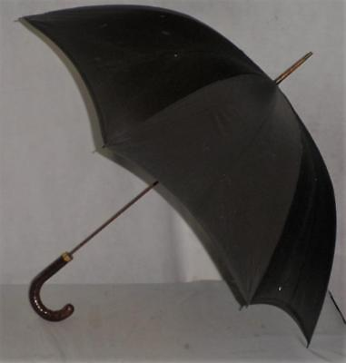 Vintage/Antique 18 Ct Gold Plate -Croc Leather Umbrella- Black Canopy By Fox