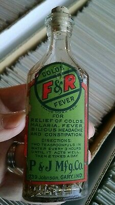 Labeled Gary, Indiana Pharmacy-Patent Medicine Bottle F&r Malaria, Colds, Fever