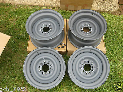 "4 x BRAND NEW 15""""STOCKTON-USA"" 6""and 8""wide STEEL WHEELS/Hubcaps-trims"
