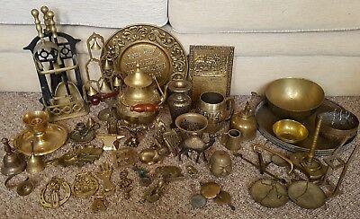 Vintage Job Lot Brass Items Trays Bowls Animals Bells Candle holders over 10kg