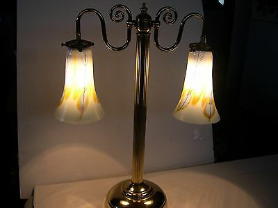 Steven Correia Handblown Shades on Brass Partners/Student Table Lamp WOW!!!