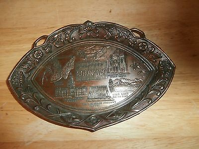 Vtg Colorado USA Landmarks Pewter Copper Alloy Ashtray Made in Japan