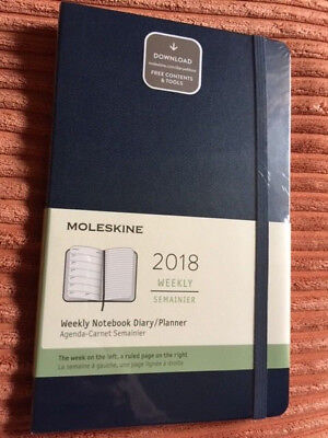 Moleskine 12 Month Weekly Diary Planner, LARGE NAVY BLUE, Hard Cover 2018