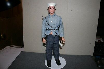 Vintage Palitoy Action Man Action Sailor Painted Black Hair - Stand is Included