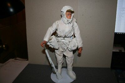 Vintage Palitoy Action Man Ski Patrol Blond Flock Hair - Stand is Included