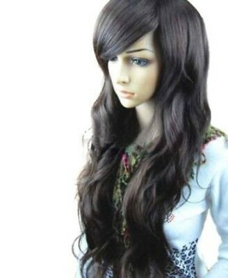 """34"""" Long Dark Brown Curly Wavy Hair Non Lace Sexy Women Lady Wigs w/ Wig Cap NEW"""