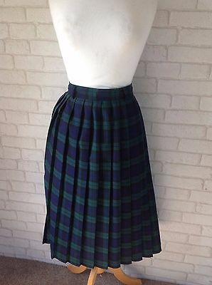 Vintage 1980's Green and Blue Check Tartan Pleated Midi Skirt Size 16