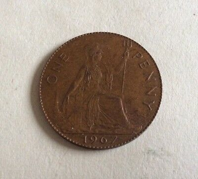 1967 Old Penny With No Outer Rim.