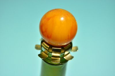 Vintage  Art Deco Marbled Butterscotch Amber Bakelite Catalin Bottle Stopper