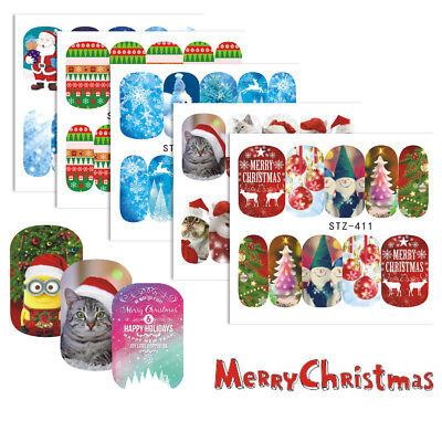 Sheets Xmas Series Nail Water Sticker Snow Flower Socks Decals Art Decorations