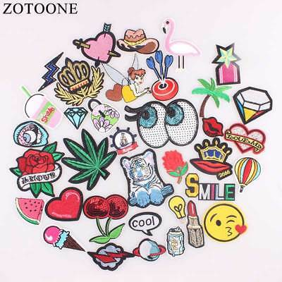 Zotoone Sew On Sequin Rose Patch Heart Iron Letter Badges Clothes Cheap