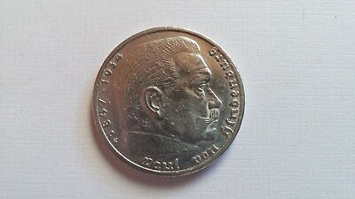 5 Mark Silbermünze 1936 G - Paul v. Hindenburg - mit HK