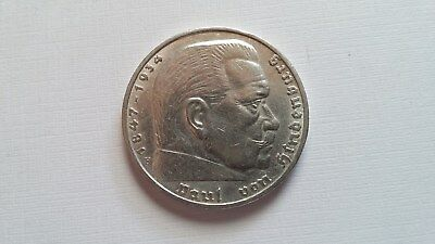 5 Mark Silbermünze 1936 F - Paul v. Hindenburg - mit HK