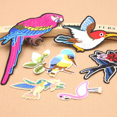 1Pcs Bird Animal Embroidered Patch Iron On Patches Sewing Fabric Badge