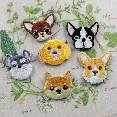 1Pcs Dog Embroidered Patch Iron On Sewing Badge Clothes Apparel Craft