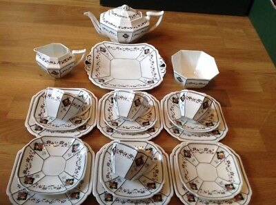 EXTREMELY RARE Shelley Queen Anne Shape 20 Piece Tea Set Pattern No 11505