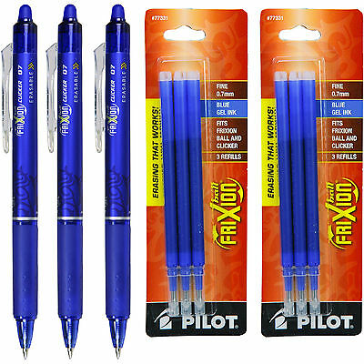 Pilot Frixion Clicker Erasable Blue Gel Ink Pens, 3 Pens With 2 Pk of Refills