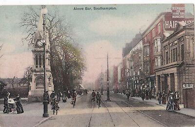 Above Bar,Southampton.showing A.E.Prust/People on bicycles/Pram Nice tinted card