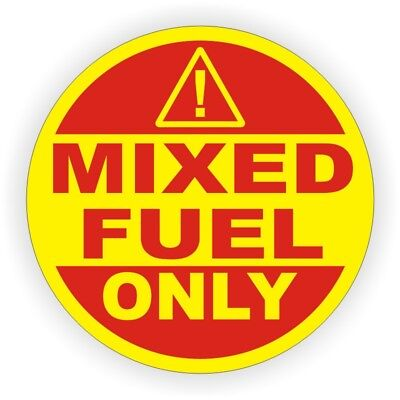 2-inch MIXED FUEL ONLY Weatherproof Vinyl Decal | Tank Gas Oil Mix Sticker Label