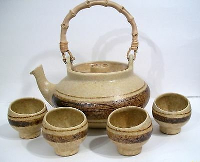 Vintage~ Pottery Craft~ Tea Pot With Bail Handle and Four Matching Contour Cups