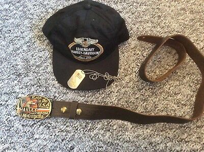 Harley Davison cap, belt and American dog tag