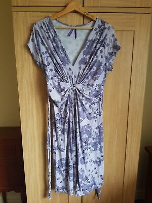 Seraphine berry print purple knot front maternity dress UK 10