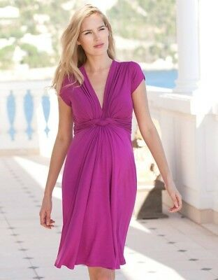 Seraphine pink knot front maternity dress UK 10