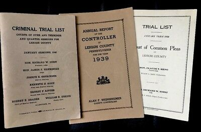 Vintage LOT Lehigh County PA Trial List Books 1930-1940 Allentown PA Genealogy