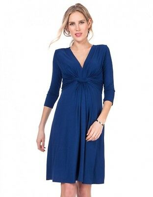 Seraphine blue knot front maternity dress UK 8