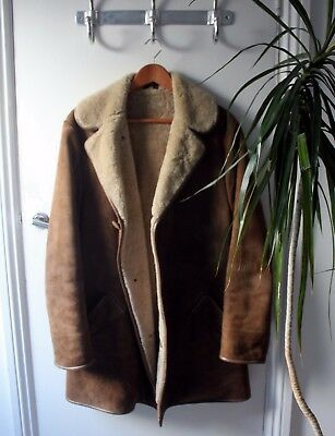 Vintage British Shearling Leather Coat by Hector Powe Large