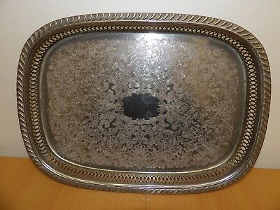 Large Silver Plated Oblong Drinks Serving Tray