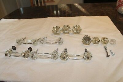Set of 5 Vtg Antique Glass Door Drawer Dresser  3 Knobs 6 point & Handles 4""