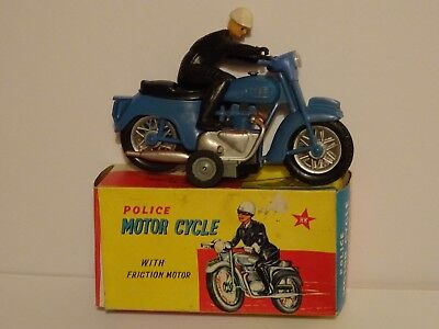 """Rare Vintage Plastic Hong Kong Toy Friction """"Police Motor Cycle"""". Nr Mint""""/Mint"""