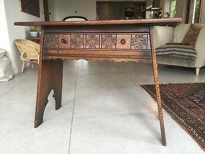 Oak Hallway Table, Arts and Crafts, Gothic