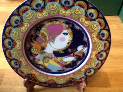 Rosenthal Christmas Plate 1980 designed by Bjorn Wiinblad Angel Playing The Bell