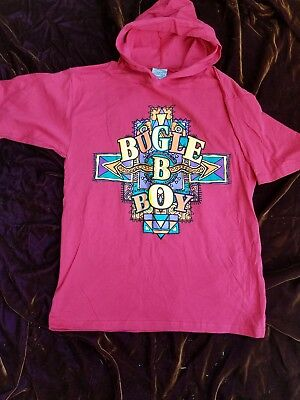 Vintage 90s red hooded t shirt with neon bugle boy emblem youth S 8-10
