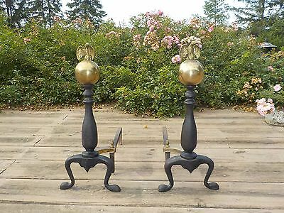 Vintage Fire Place Andirons Art Deco Brass Ball Eagle On Top