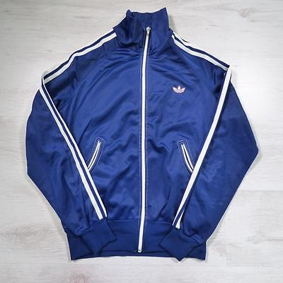 ADIDAS Vintage 1980's Blue Retro Polyester Tracksuit Top Jacket XS #E2156