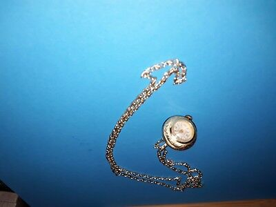 Rare Secory Swiss Ball Pendant Watch On 30 Inch Chain Vgc Vintage Manual Wind