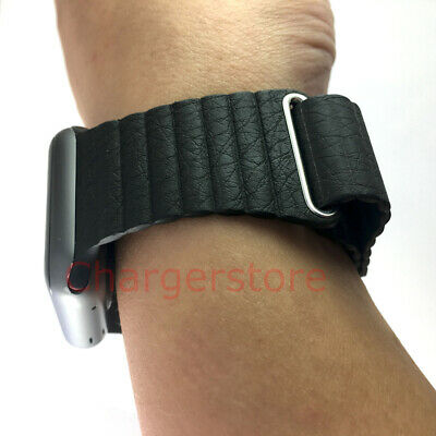 Original Apple Watch Leather Loop Band 42mm Black Medium Magnetic wrist strap M